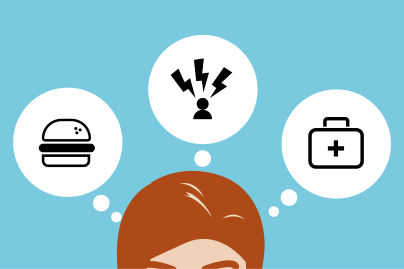 Women with though bubbles above her head with food and stress icons to show causes of hair loss